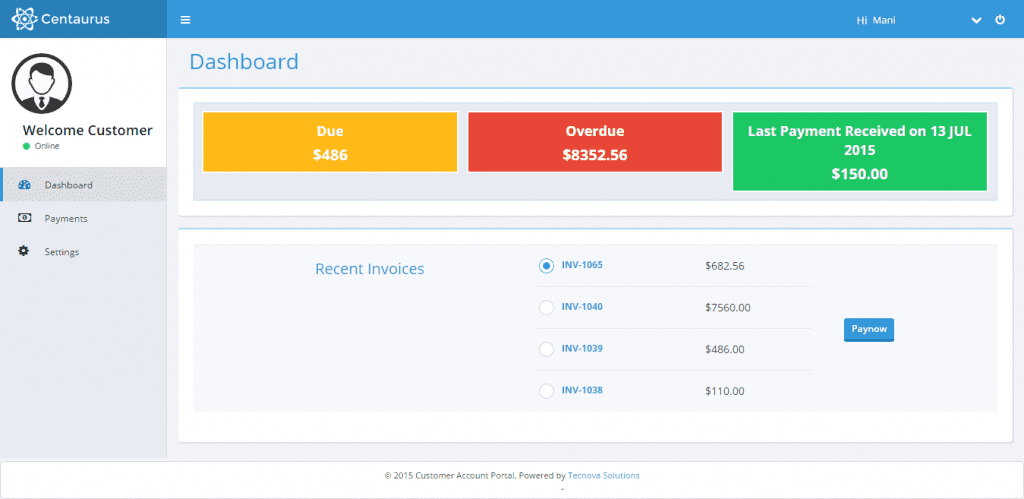 Customer Dashboard within Customer Account Porta