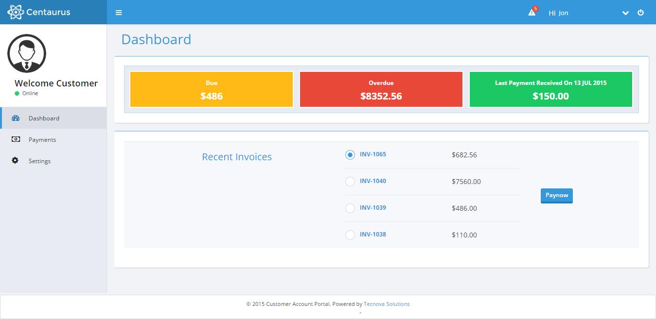 Customer Account Portal Dashboard