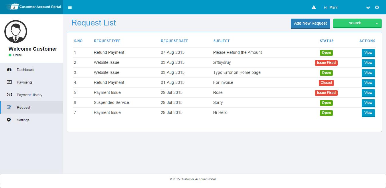 Customer Account Portal Request Types Screen